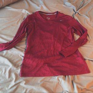 Maroon Nike DRI-FIT Longsleeve shirt.